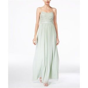 Adrianna Papell | Sage Green Beaded Chiffon Gown